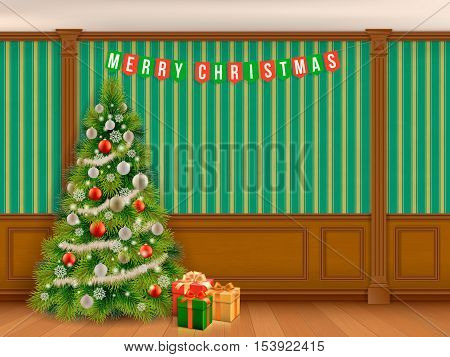 Decorated Christmas tree in classic room with wooden paneling and pilasters. Interior living room or library in the classical style.