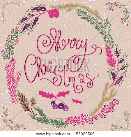 Merry Christmas Card. Christmas Wreath. Christmas wreath with twigs and berries.Pastel backdrop with polka dots. Vector Illustration