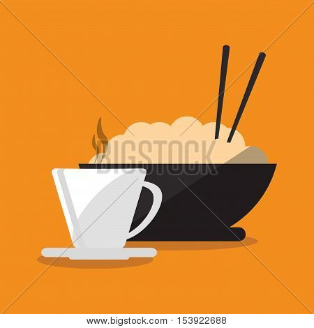 Mug and noodle icon. Fast food menu restaurant and market theme. Colorful design. Vector illustratio