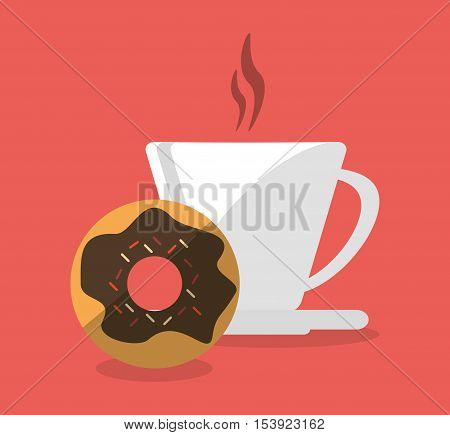 Mug and donut icon. Fast food menu restaurant and market theme. Colorful design. Vector illustratio