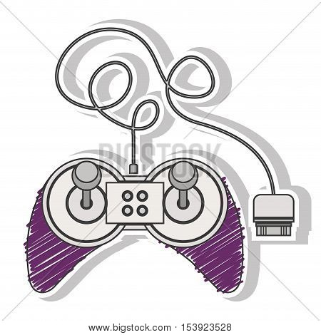 fushia striped remote control games with joystick vector illustration