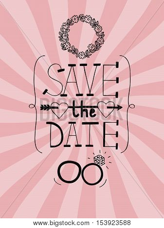 Pink wedding background with radiating rays, rings, wreath and words Save the date