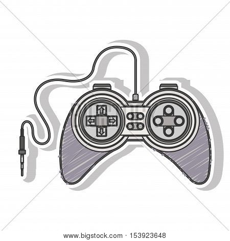 gray striped remote control games with jack connector vector illustration