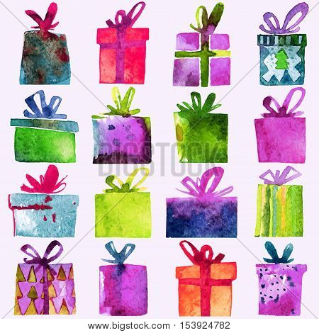 Watercolor Christmas set with gift boxes isolated on white background. Watercolor art. Vector illustration. Christmas decoration elements.
