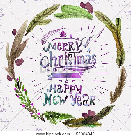 Watercolor Christmas greeting card with wreath of holly twigs and text Merry Christmas. Watercolor art. Christmas decor. Christmas gifts and scrapbooking. Illustration for greeting cards invitations and other printing projects.