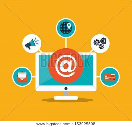 Computer and email icon. digital marketing media and ecommerce theme. Colorful design. Vector illustration