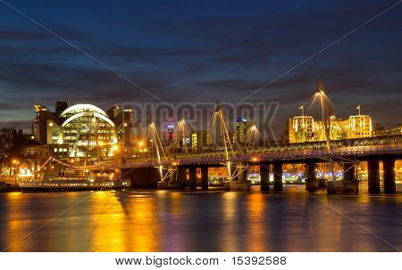 Cityscape Of London At Hungerford Bridge