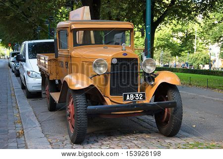 HELSINKI, FINLAND - AUGUST 28, 2016: Truck Ford Model AA Platform on the streets of Helsinki on a sunny summer day
