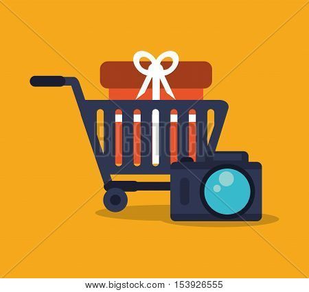 Gift cart and camera icon. digital marketing media and ecommerce theme. Colorful design. Vector illustration