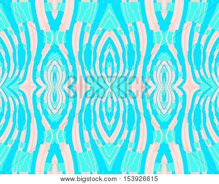 Abstract geometric seamless background. Regular symmetric ornaments in turquoise shades with apricot color and pink elements, conspicuous and vividly.