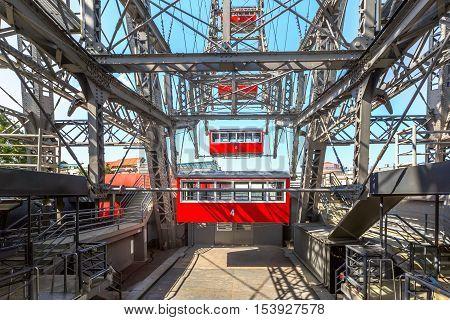 View through the Ferris Wheel in Vienna. Austria.