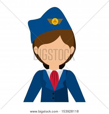 half body flight attendant with suit vector illustration