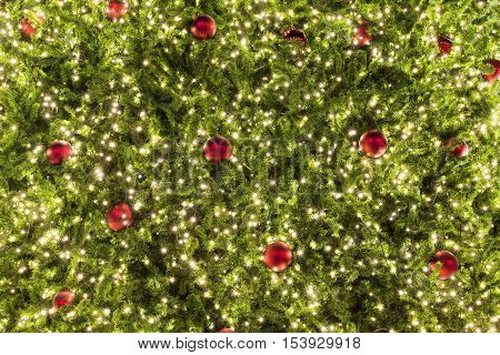 christmas tree light and ornament at night