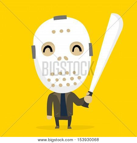Cartoon style Maniac in mask with big machete halloween costume vector illustration on yellow