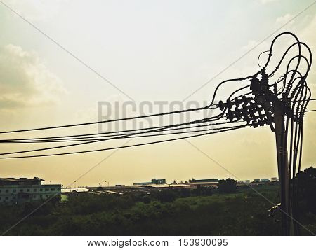 Electric pole connect to the high voltage electric wires
