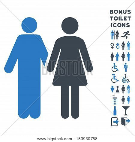 Married Couple icon and bonus man and female toilet symbols. Vector illustration style is flat iconic bicolor symbols, smooth blue colors, white background.