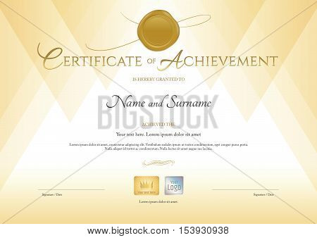 Certificate of achievement template in gold theme with gold wax seal