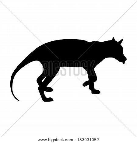 Tiger tasmanian vector illustration black silhouette profile