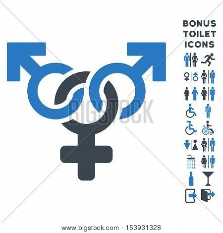 Polyandry icon and bonus male and lady toilet symbols. Vector illustration style is flat iconic bicolor symbols, smooth blue colors, white background.
