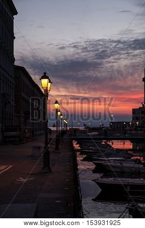 View of Ponte rosso in Trieste at sunset Italy