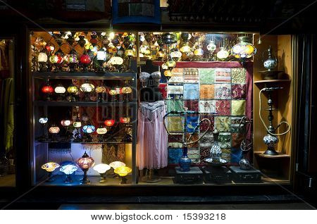 Turkish Souvenir Shop At Night