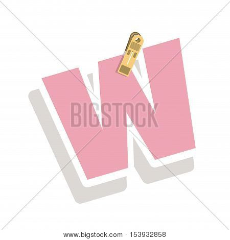 Clothespin holding relive letter w vector illustration
