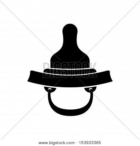 black silhouette baby pacifier with rubber soother vector illustration