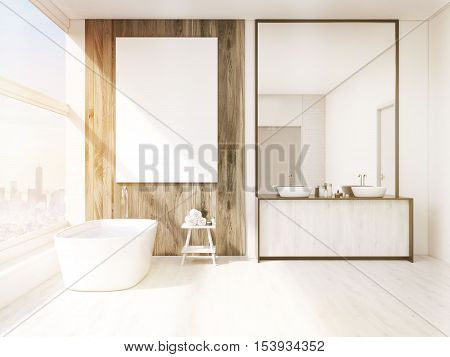 Sunlit Bathroom Interior With Mirror