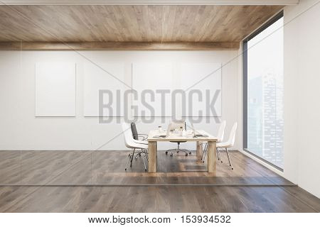 Front view of conference room with glass walls four vertical posters and a wooden ceiling. Concept of modern interior design. 3d rendering. Mock up