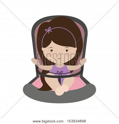 girl sit in Baby rides module with layette form vector illustration