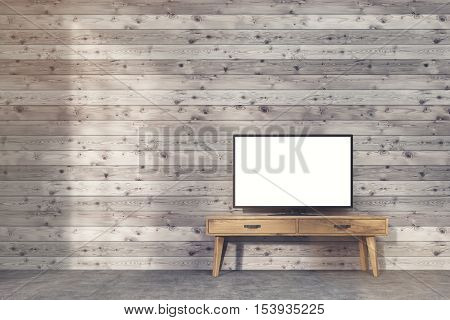 Wide Screen Tv Set On Narrow Table