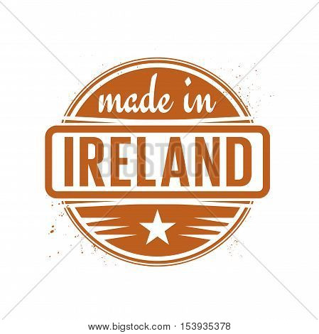 Abstract vintage stamp or seal with text Made in Ireland vector illustration