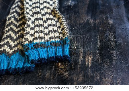 Knitted Scarf On Wooden Chair