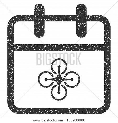 Drone Day grainy textured icon for overlay watermark stamps. Flat symbol with scratched texture. Dotted vector gray ink rubber seal stamp with grunge design on a white background.