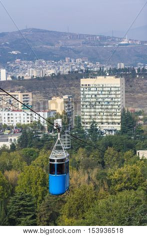 Renovated Cablecar Over Vake Park In Central Part Of Tbilisi, Georgia