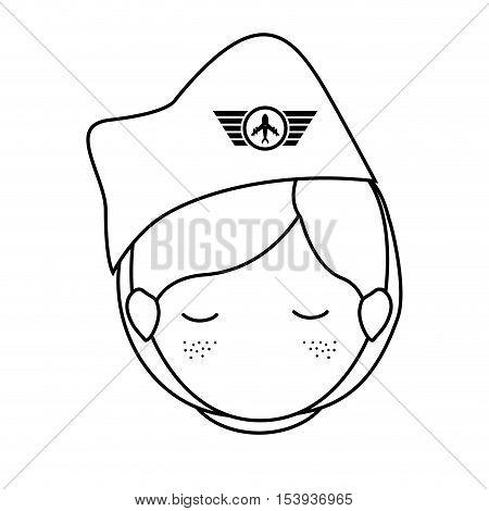 silhouette front face woman flight attendant vector illustration