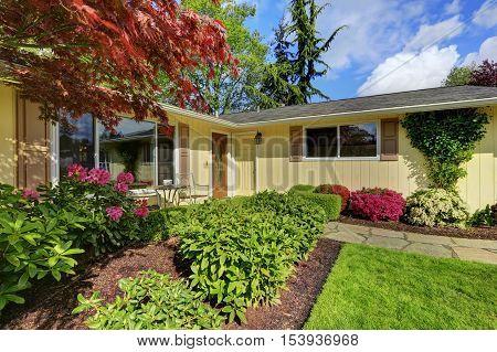 American Yellow Rambler Style House Exterior