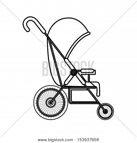 silhouette simple baby carriage with layette vector illustration