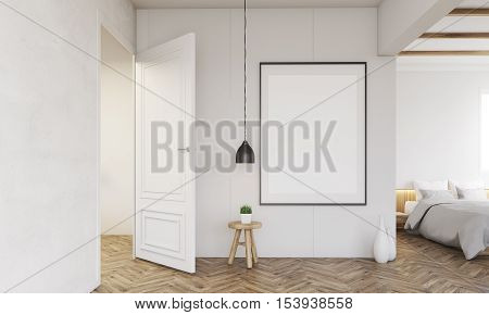 Bedroom Interior With Open Door And Lamp