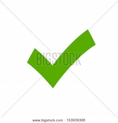 Tick sign element. Green checkmark icon isolated on white background. Simple mark graphic design. OK button for vote decision web. Symbol of correct check approved. Vector illustration