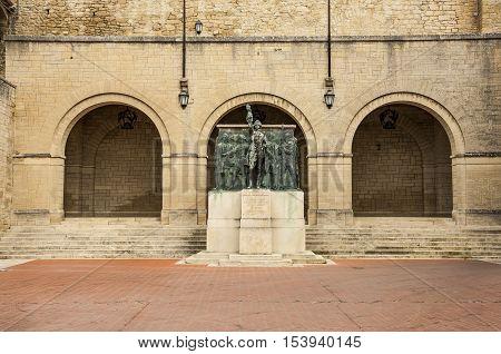 Monument Girolamo Gozi and defenders of freedom 1739-1740 in San Marino