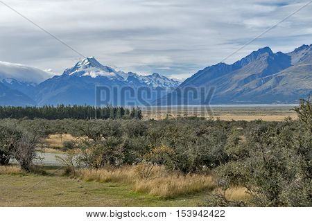 Aoraki / Mount Cook, The Highest Mountain In New Zealand, And The Tasman River Seen From Glentanner