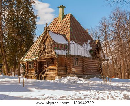 Banja teremok in Abramtsevo estate near Moscow built in Russian style. It is sample of Russian wooden architecture. It was erected in 1878 on project of architect Ropet. Russia, Abramtsevo. March 20, 2016