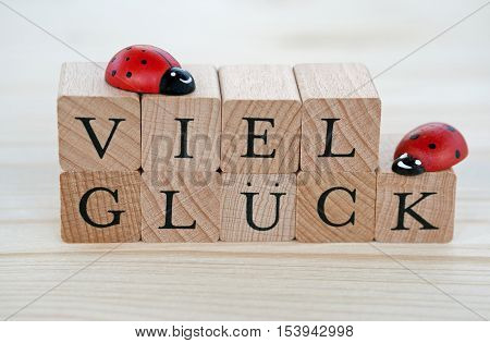 The german words for good luck (Viel Glueck) and ladybugs on wood