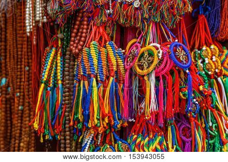 Close up photo of colorful nepalese keyrings