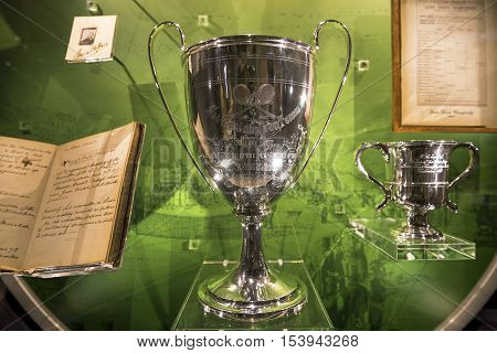 London, the UK - May 2016: Official Wimbledon trophies in the  museum