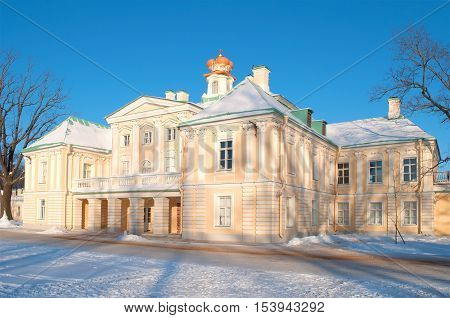 LOMONOSOV, RUSSIA - JANUARY 29, 2012: Grand Menshikov Palace, sunny january day. Historical landmark of the Oranienbaum