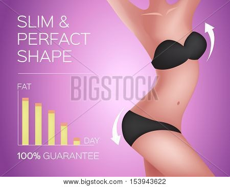 slim and perfect shape . liposuction for nice body or weight loss vector , fat , collagen , skin and anatomy