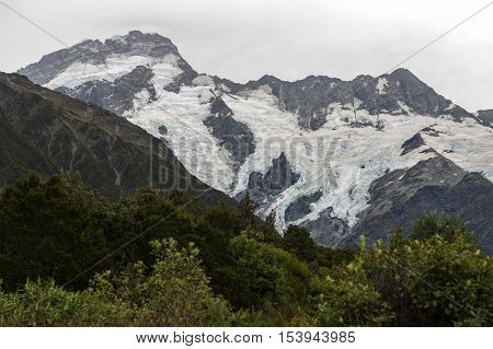 Mountain Peaks Covered By Ice Seen From Mount Cook Village, Aoraki / Mount Cook National Park, New Z