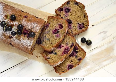 Homemade wholewheat cake with blackcurrant, top view